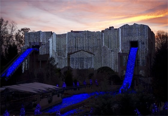 Escape from Pompeii decorated for Christmas Town