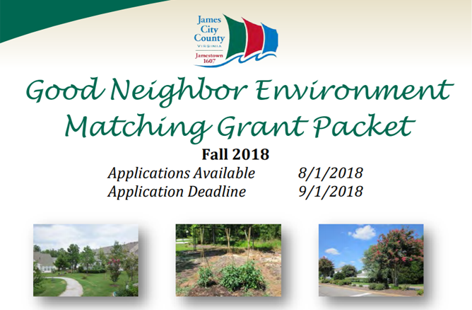 Good Neighbor Environment Matching Grant Packet Fall 2018 Applications Available Aug. 1 2018 Applica