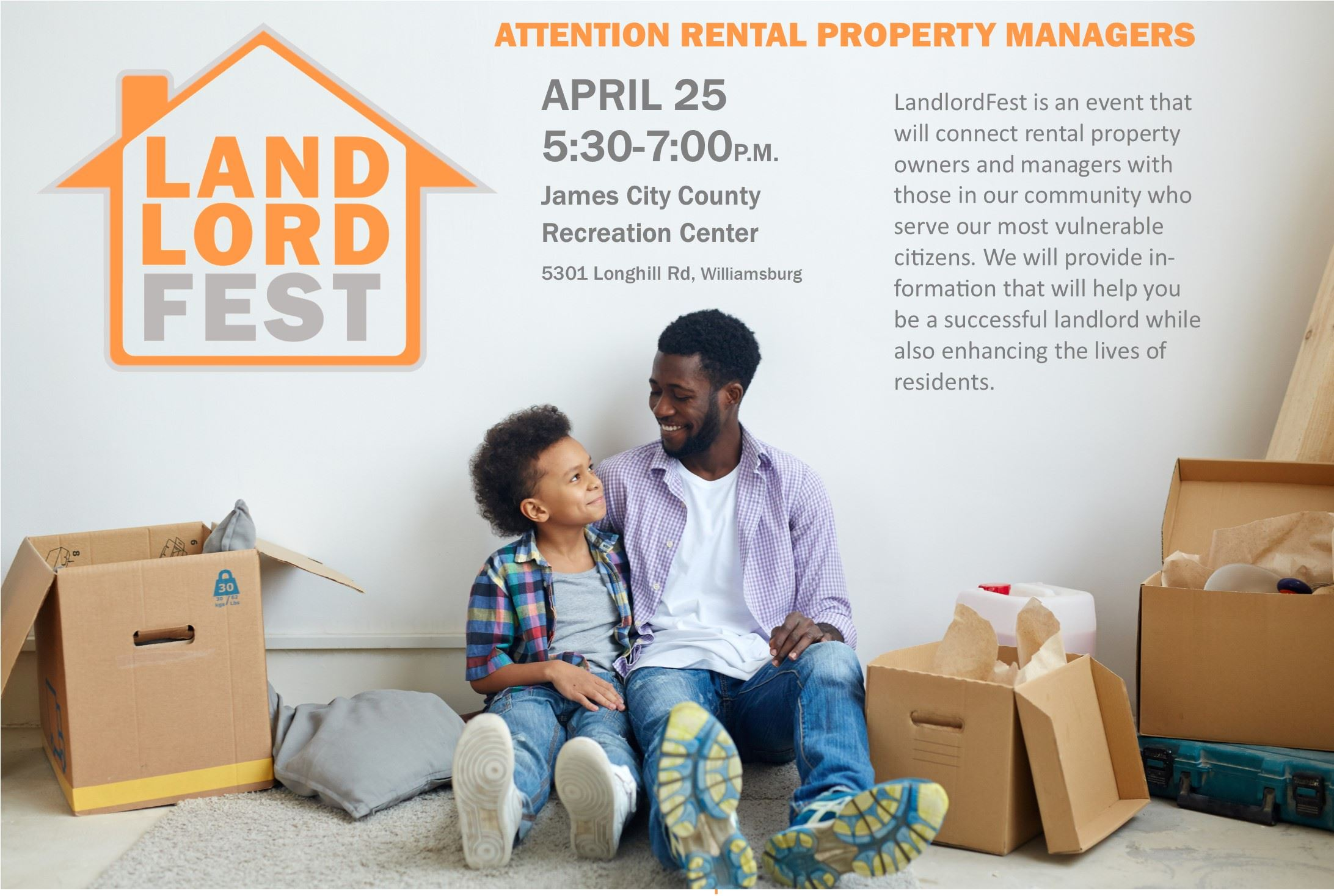 LandlordFest April 25, 2019, 5:30 to 7:00 at the James City County Recreation Center