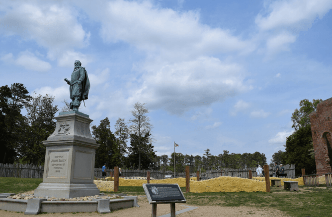 Historic Jamestowne Captain John Smith statue facing towards land
