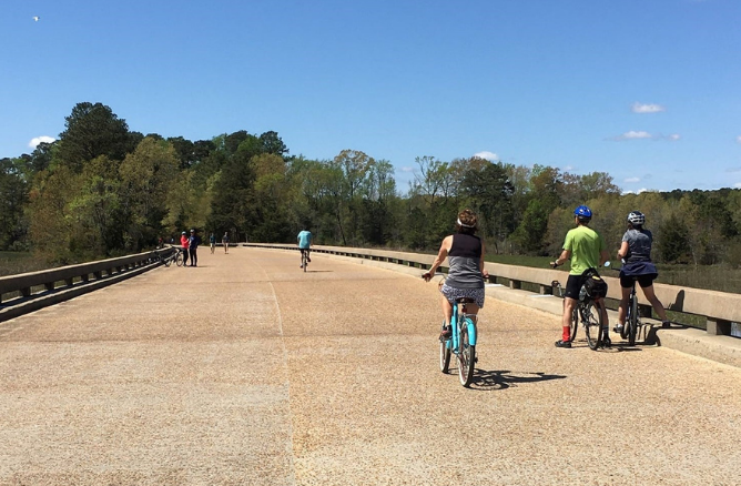 Bicyclists on the Colonial Parkway