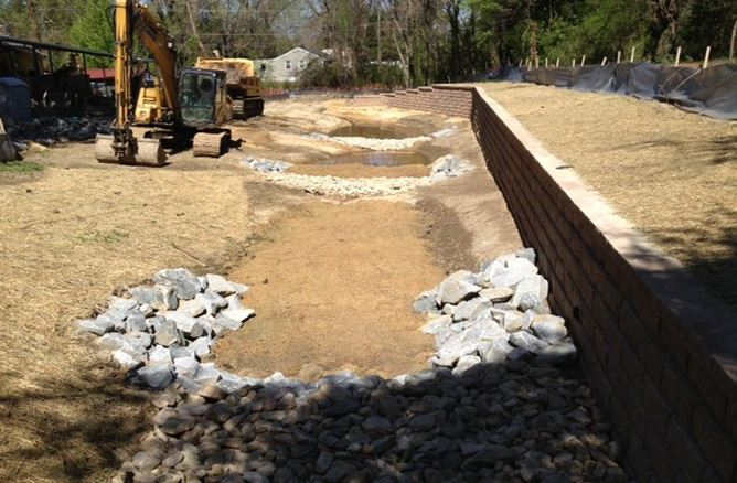 Phase 3 construction conditions at 897 and 899 Tyler Drive - Upstream (Regenerative Stormwater Conveyance Channels)