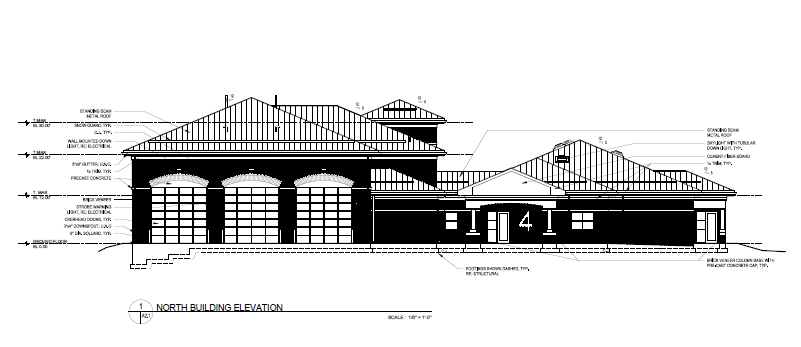Future Fire Station 4 Front Building Elevations